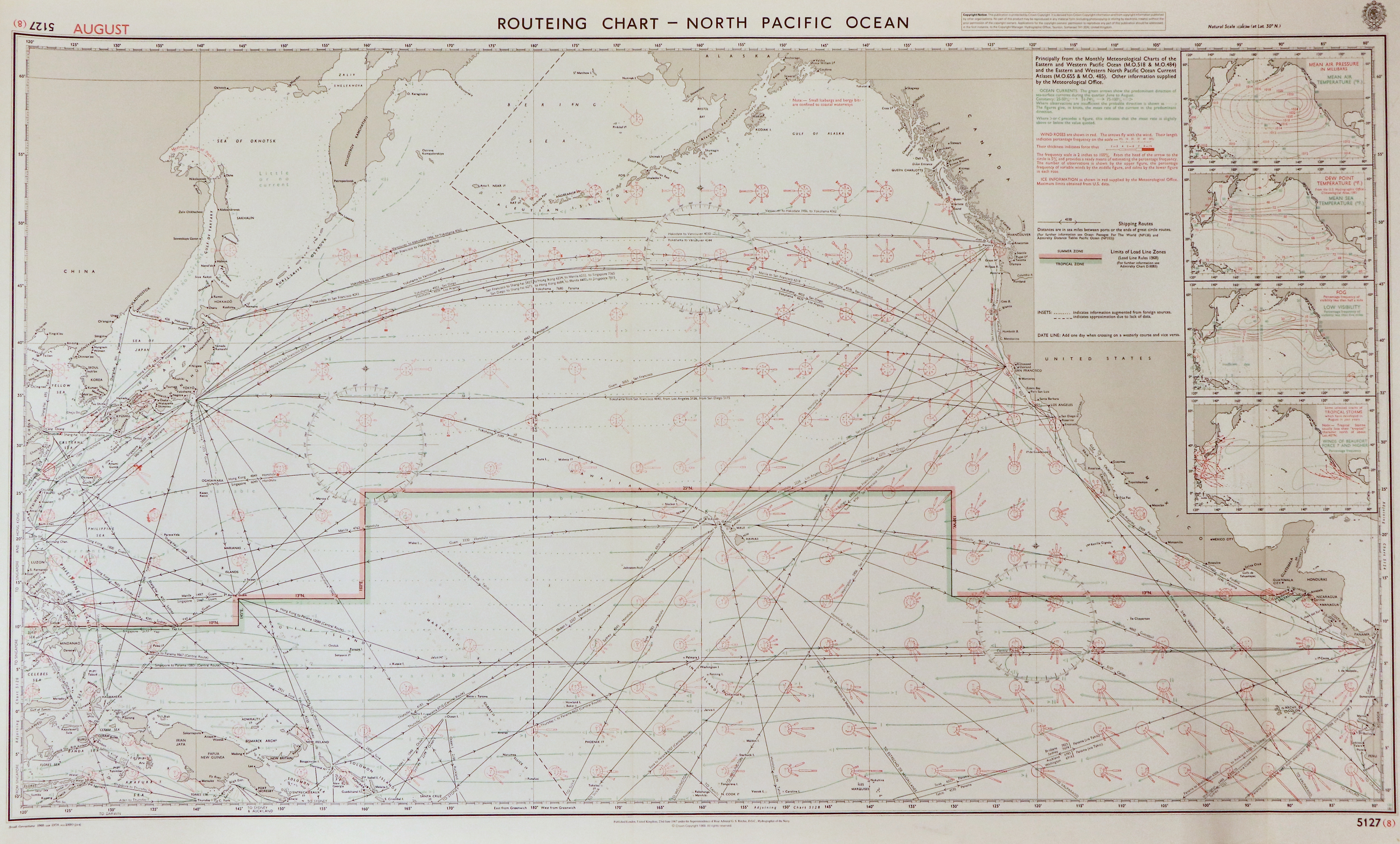 66 - Routeing Chart - North Pacific Ocean (August)