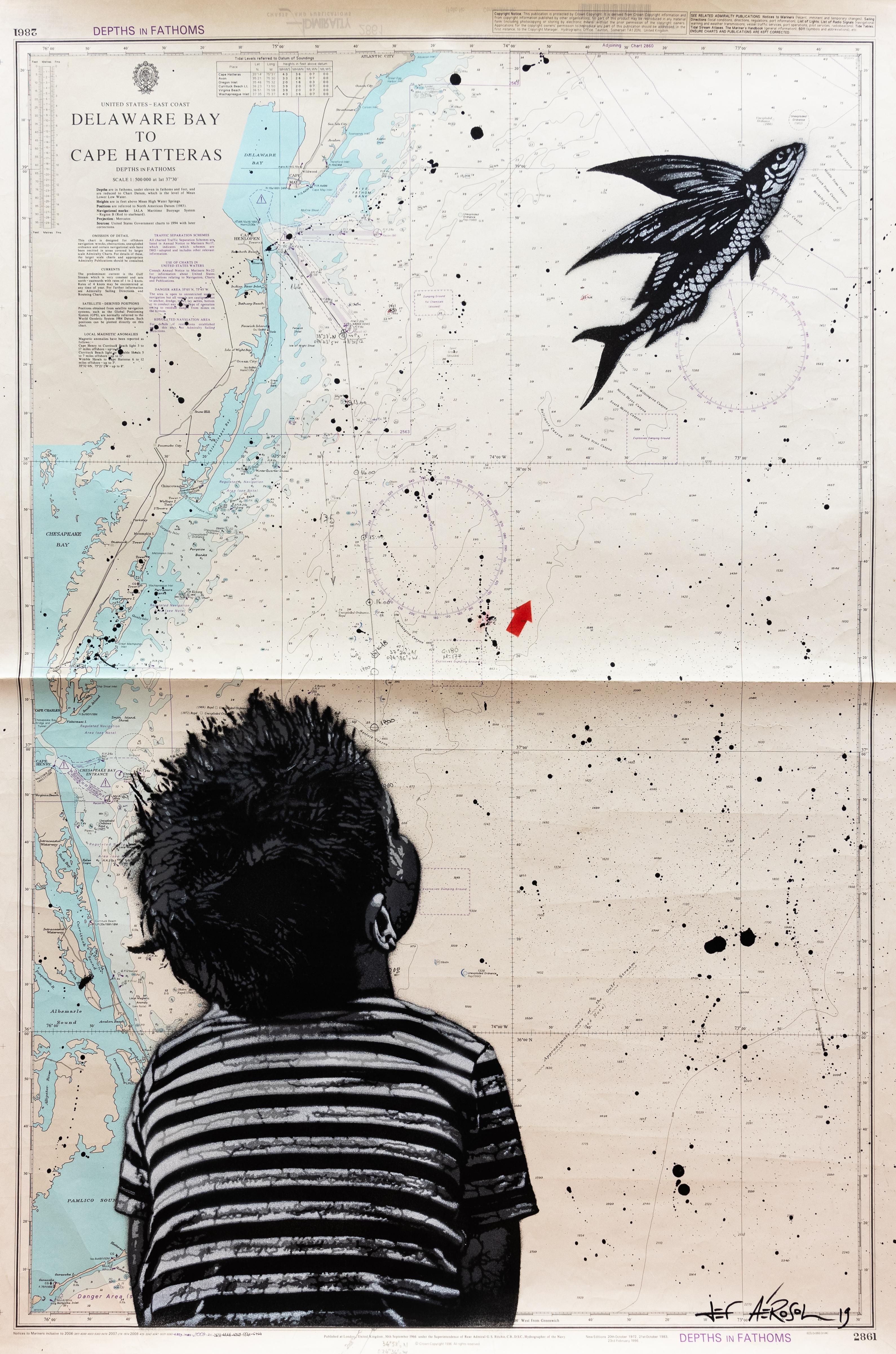 Carte n°35 - Jef Aerosol - Flying fish over Delaware Bay